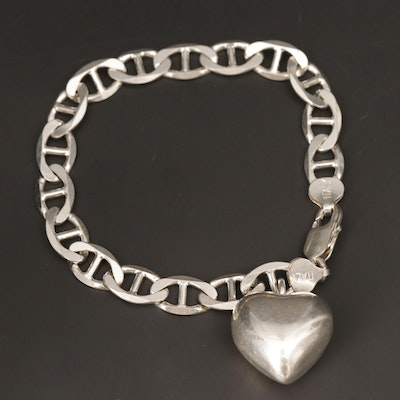 Sterling Silver Flat Mariner Chain Link Bracelet with Puffed Heart Charm