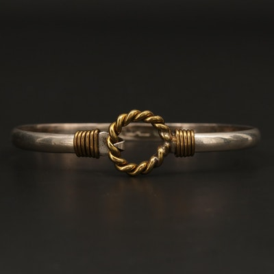Mexican Sterling Silver Bracelet with Gold Tone Accents