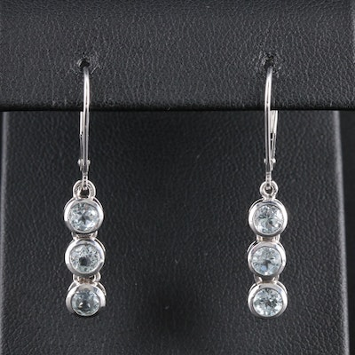 14K White Gold Blue Topaz Dangle Earrings