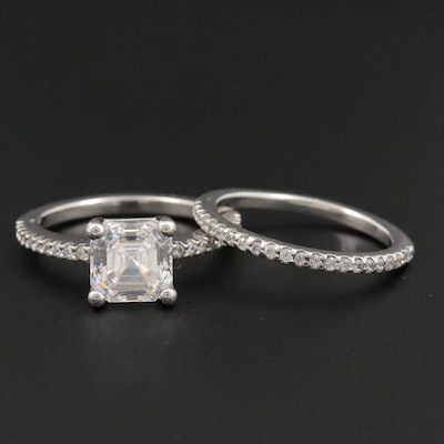 Platinum Cubic Zirconia Ring Set