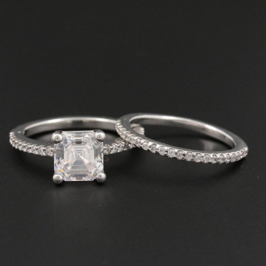 Platinum Cubic Zirconia Ring Set