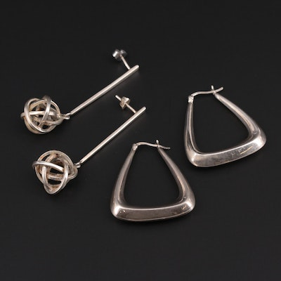 Sterling Silver Geometric Dangle and Drop Earrings