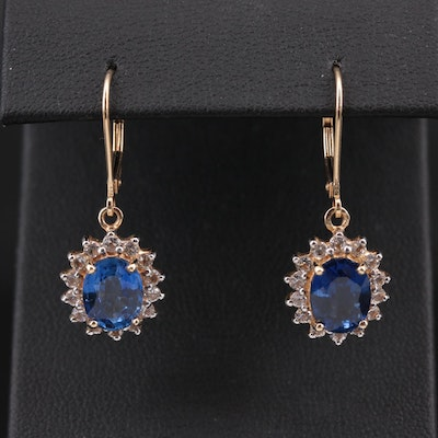14K Yellow Gold Sapphire and White Sapphire Dangle Earrings