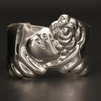 Mexican Sterling Silver Cuff with Floral Motif