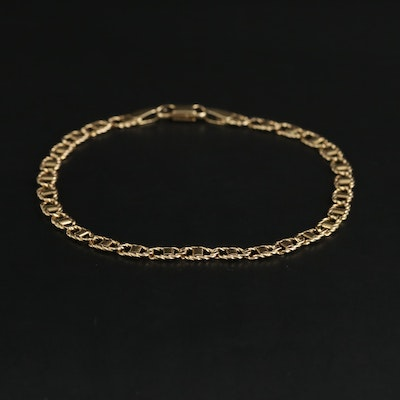 14K Yellow Gold Braided Mariner Link Chain Bracelet