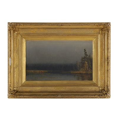 Sanford Gifford Oil Painting of Luminist Landscape, 1860