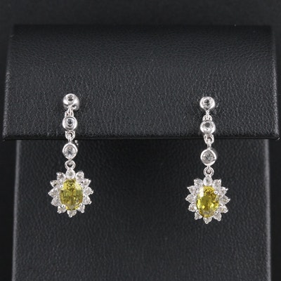 14K White Gold Yellow and White Sapphire Drop Earrings