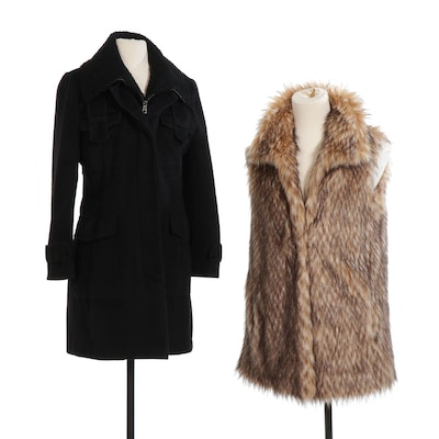 Roncarati Black Angora and Wool Shearling Jacket with Ashley B Faux Fur Vest