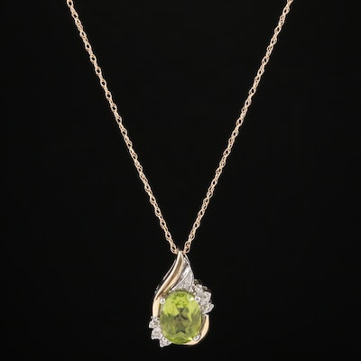 14K Gold and Sterling Peridot and Diamond Pendant Necklace with 10K Accents