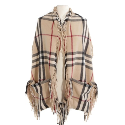 "Burberry ""St. Helene Nova Check"" Fringed Shawl with Pockets"