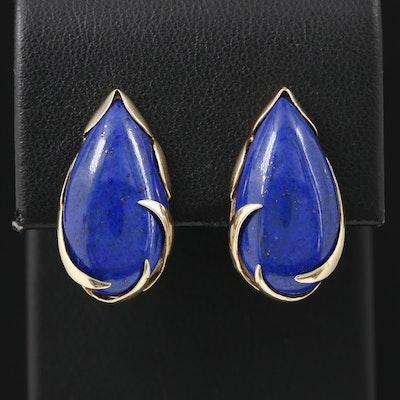 14K Yellow Gold Lapis Lazuli Earrings