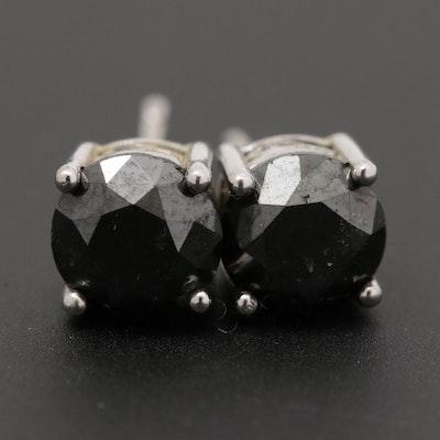 Sterling Silver 1.48 CTW Black Diamond Solitaire Stud Earrings