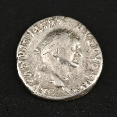 Ancient Roman Imperial AR Denarius of Vespasian, ca. 75 A.D.