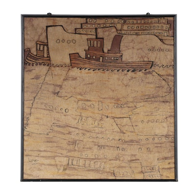 Ink Drawing of Ships on Batik Cloth