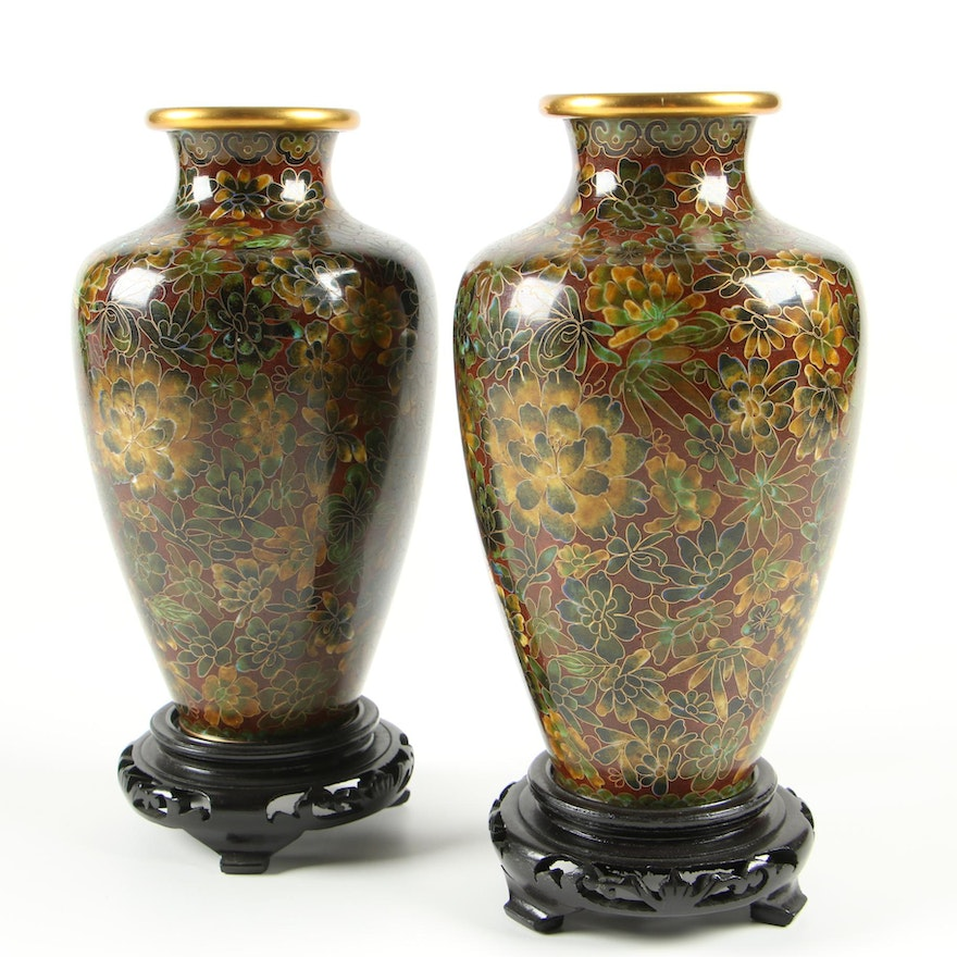Pair of Chinese Cloisonné Mirror Vases with Wooden Stands, Late 20th Century