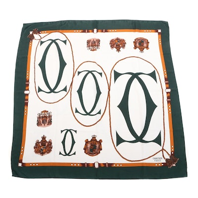 Cartier Logo and Crest Motif Silk Scarf