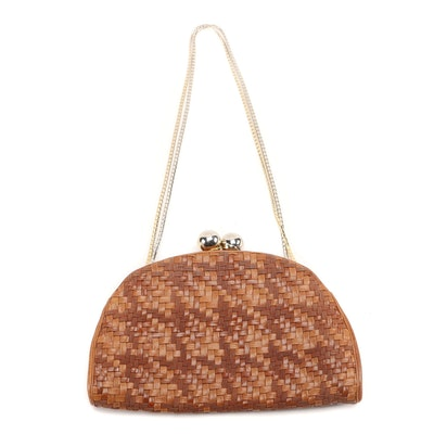 Judith Leiber Brown Woven Leather Clutch Purse with Kiss Lock and Chain Strap