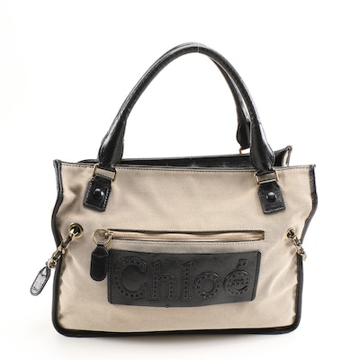 Chloé Hayley Tote in Canvas and Black Leather