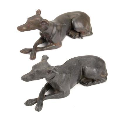 Cast Metal Italian Greyhound Figurines, Mid-20th Century