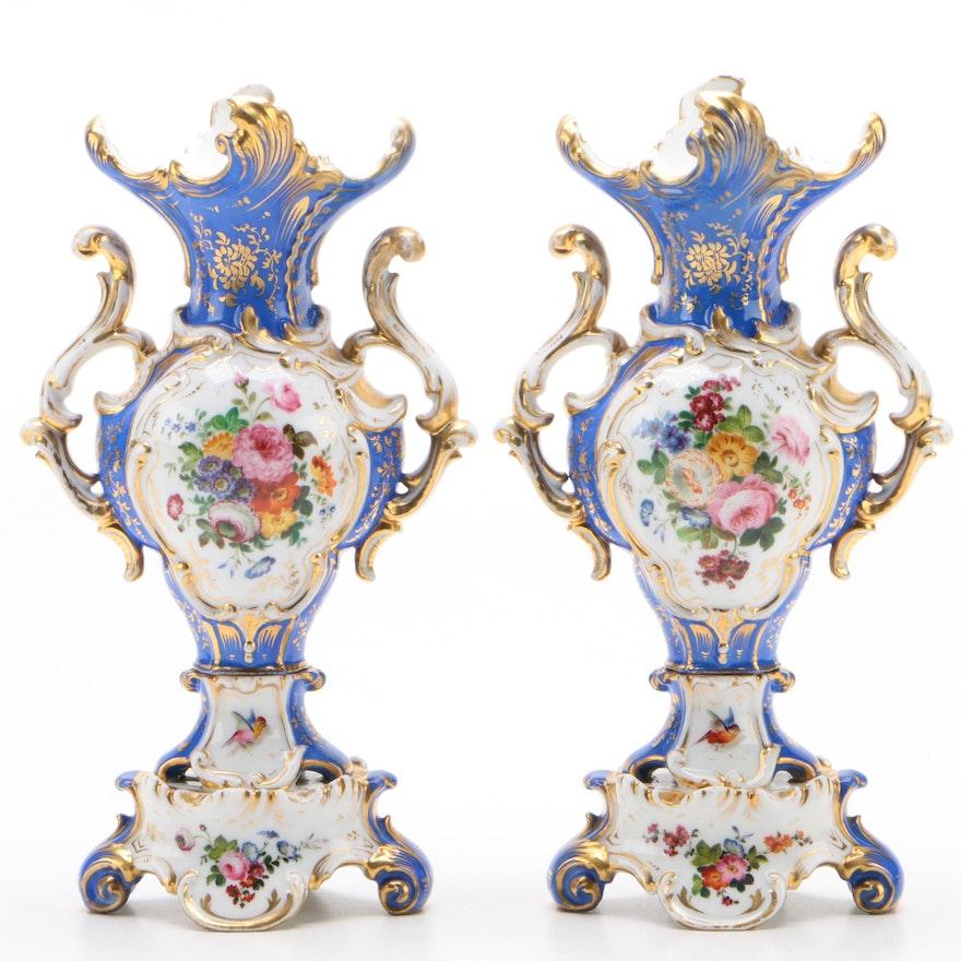 Pair of Old Paris Mantel Vases, circa 1860