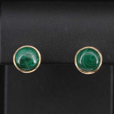 14K Yellow Gold Malachite Stud Earrings