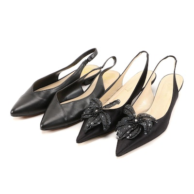 Vince Camuto Black Leather Slingback Flats and Will's Fancy Black Satin Heels
