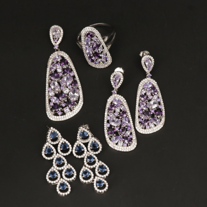 Sterling Silver Cubic Zirconia Earrings and Ring