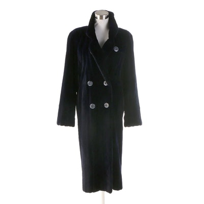 Midnight Blue Sheared Mink Double-Breasted Coat from M. Blaustein