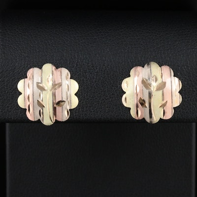 14K Yellow Gold Floral Earrings with White, Green and Rose Gold Accents