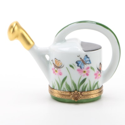 Gerard Ribierre Watering Can and Butterflies Porcelain Limoges Box