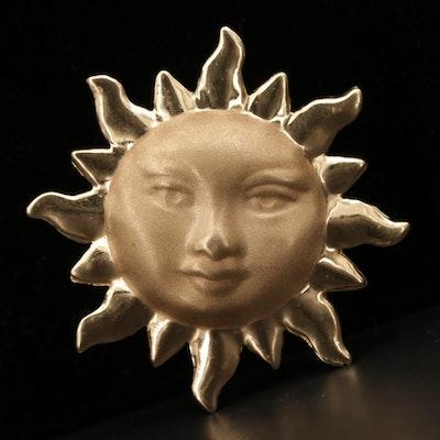 14K Yellow Gold Sun Motif Pendant