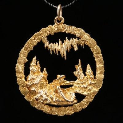 "10K Yellow Gold ""Panning For Gold"" Motif Pendant"