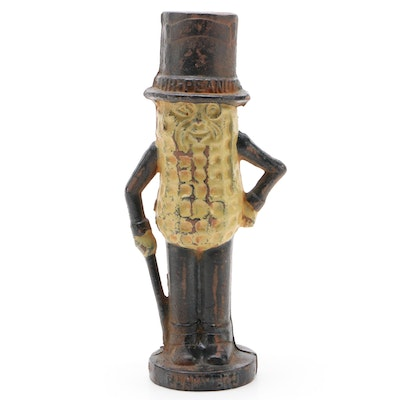 Planters Mr. Peanut Cast Iron Coin Bank, Early 20th Century