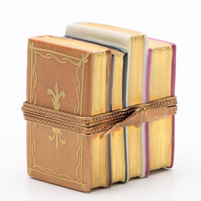 French Accents Hand-Painted Porcelain Stack of Books Limoges Box