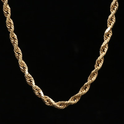 14K Yellow Gold French Rope Chain Necklace