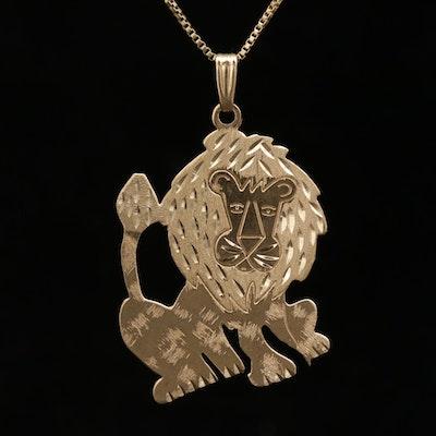 14K Yellow Gold Lion Motif Pendant Necklace