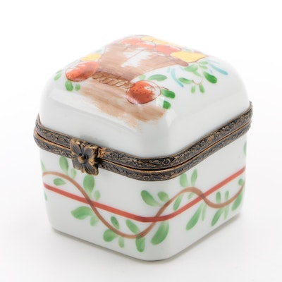 Hand-Painted Porcelain Limoges Box with Pear and Apple Fruit Basket Motif