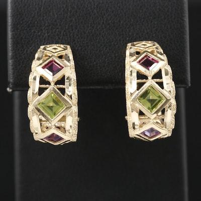 14K Yellow Gold Peridot, Rhodolite Garnet and Amethyst Earrings