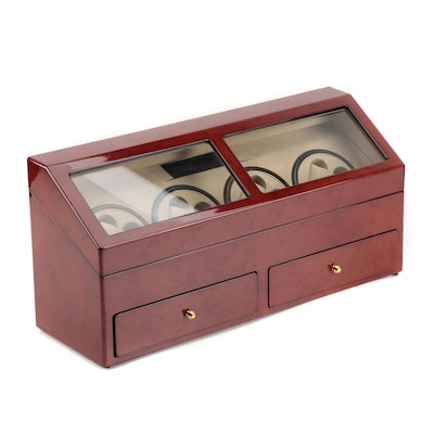 Watch Winder and Case with High Gloss Burlwood Finish, Contemporary