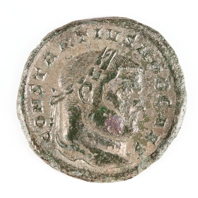 Ancient Roman Imperial AE Silvered Follis of Constantius I, ca. 297 A.D.