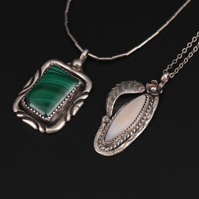 Herbert Toledo Navajo Diné Sterling Malachite With Mother of Pearl Necklaces