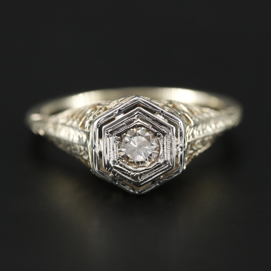 Edwardian 14K Yellow Gold Diamond Filigree Ring with White Gold Accent