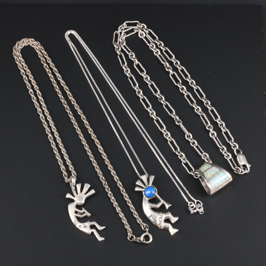 Collection of Sterling Silver Necklace With Opal and Glass