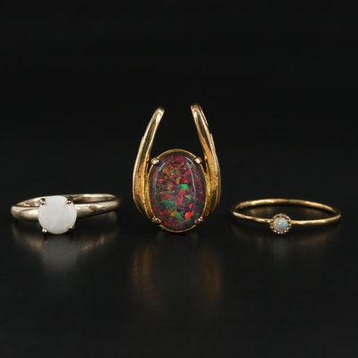 Sterling Silver Opal Rings and Slide Pendant