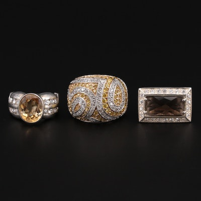 Sterling Silver Rings With Cubic Zirconia, Citrine and Smoky Quartz