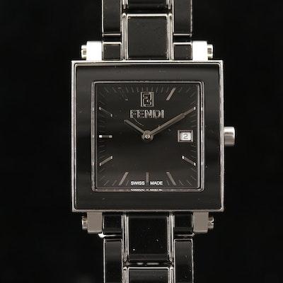 Fendi Quadro Black Ceramic and Stainless Steel Quartz Wristwatch