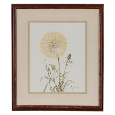 "Manabu Saito Offset Lithograph ""Oyster Plant (Tragopogon Porrifolius)"""