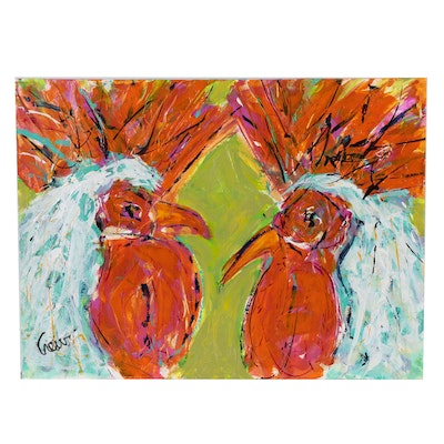 """Susan Crew Acrylic Painting """"Rooster Talk"""""""
