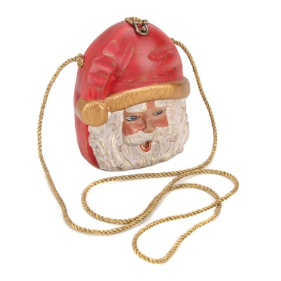 Timmy Woods of Beverly Hills Carved and Hand-Painted Acacia Wooden Santa Handbag