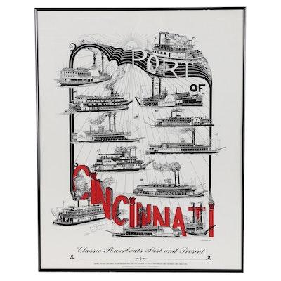 "Ed Pikar Serigraph ""Port of Cincinnati: Classic Riverboats Past and Present"""